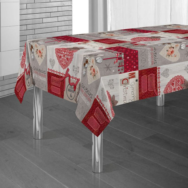 Tablecloth red with ecru christmas 350 X 148 French Tablecloths
