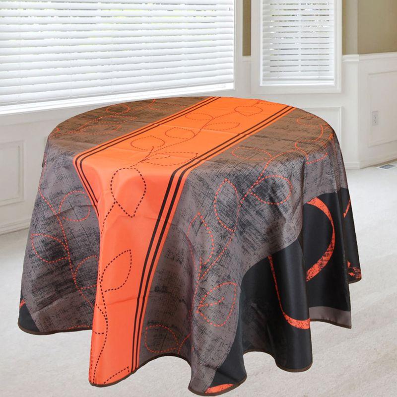Tafelkleed oranje streep blaadjes 160 rond Franse Tafelkleden