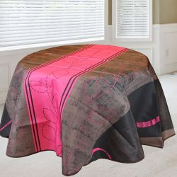 Tablecloth 160 round. rouge stripe French tablecloths