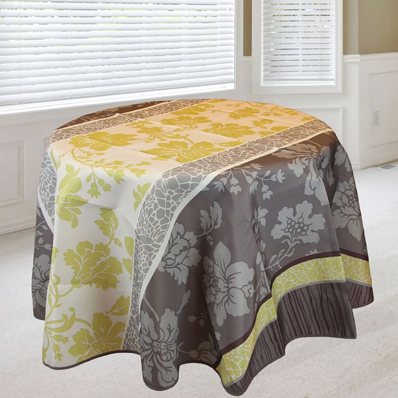 Tablecloth taupe green jobs with flowers 160 round French tablecloths