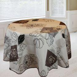 Tablecloth white taupe flowers 160 round French tablecloths