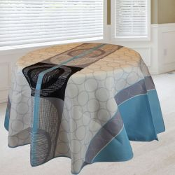 Tablecloth 160 round light blue gray circles French tablecloths