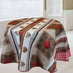 Tablecloth brown, red with hearts 160 around French tablecloths
