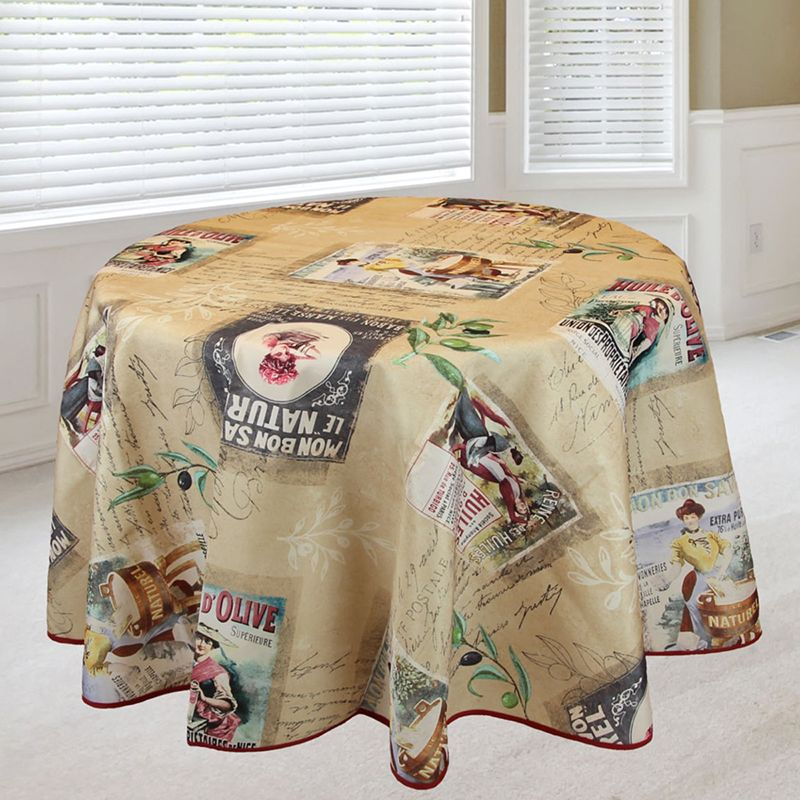 Tablecloth beige with lady with washtub 160 round French tablecloths