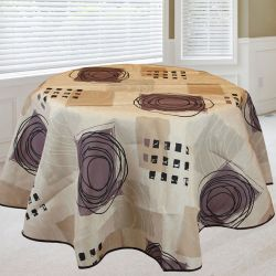 Tablecloth 160 round beige, taupe with spirals French tablecloths