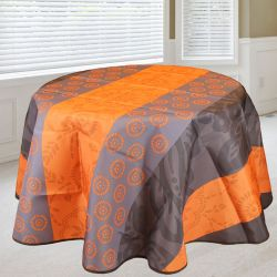Tablecloth 160 round orange with leaves and circles French tablecloths