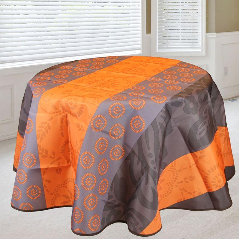 Tafelkleed 160 rond oranje met blaadjes en cirkels Franse Tafelkleden