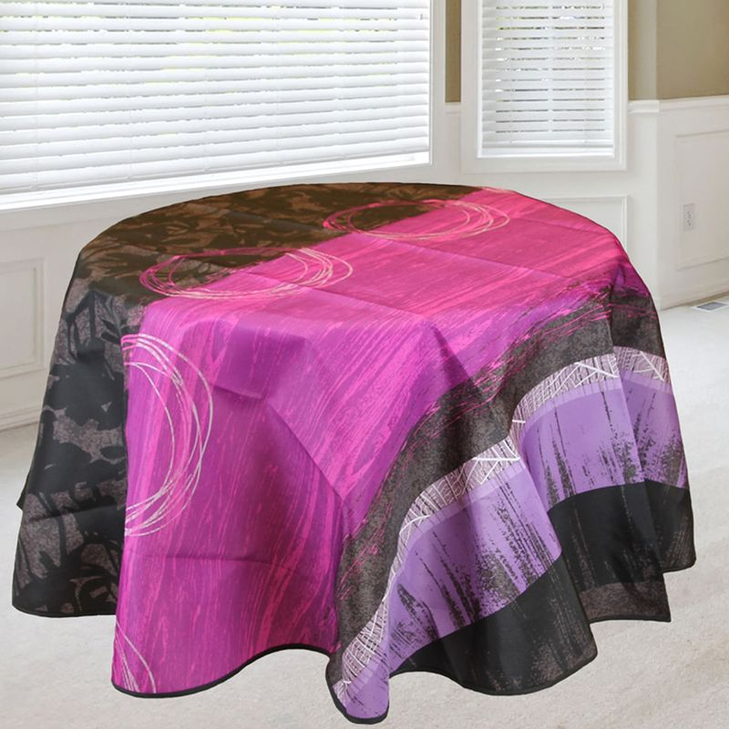 Tablecloth 160 round taupe, lilac with leaves of French tablecloths