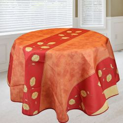 Tablecloth 160 round. red, pink with leaves French tablecloths