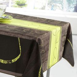 Tablecloth lime stripe leaves 200 X 148 French tablecloths
