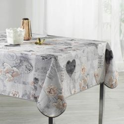 Tablecloth gray with butterflies and hearts 300 X 148 French tablecloths