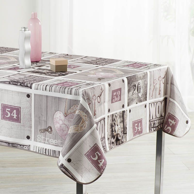 Tablecloth gray with beige figures 300 X 148 French tablecloths