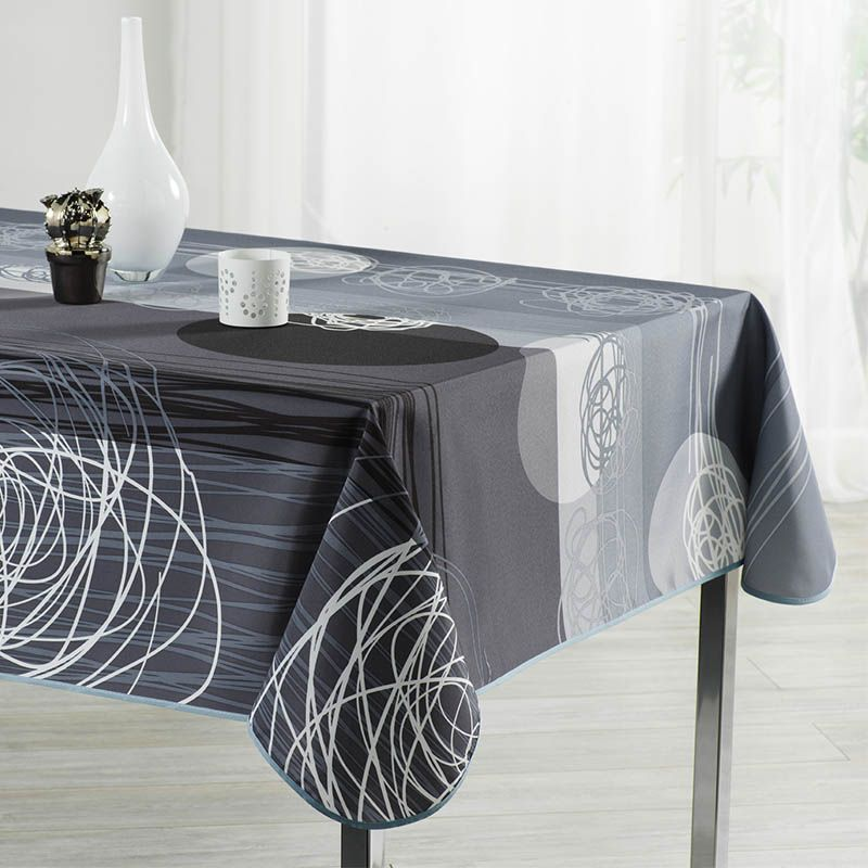 Tablecloth gray black stripes and circles 300 X 148 French tablecloths. Camping and terrace, inside and out.