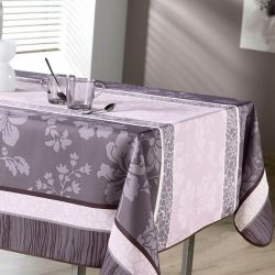 Tablecloth pink taupe courts with flowers 300 X 148 French tablecloths