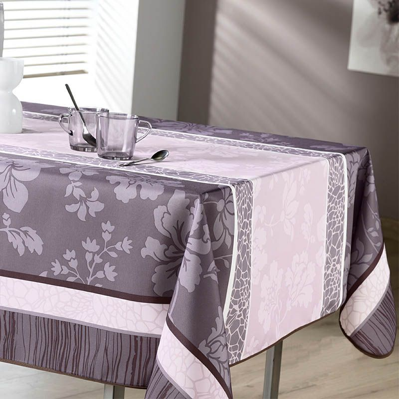 Tischdecke Rosa Taupe Gerichte mit Blumen 300 X 148 Französisch Tischdecken