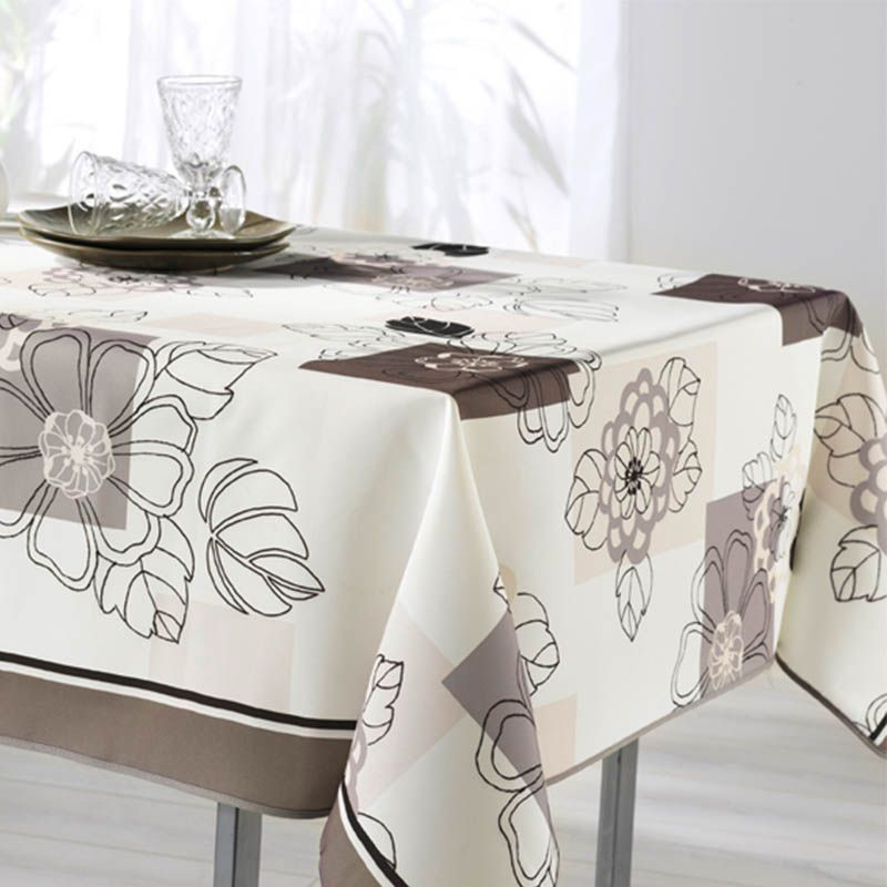 Tablecloth white taupe flowers 300 X 148 French tablecloths