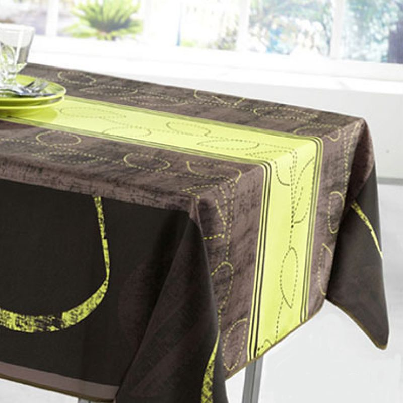 Tablecloth lime stripe leaves 300 X 148 French tablecloths