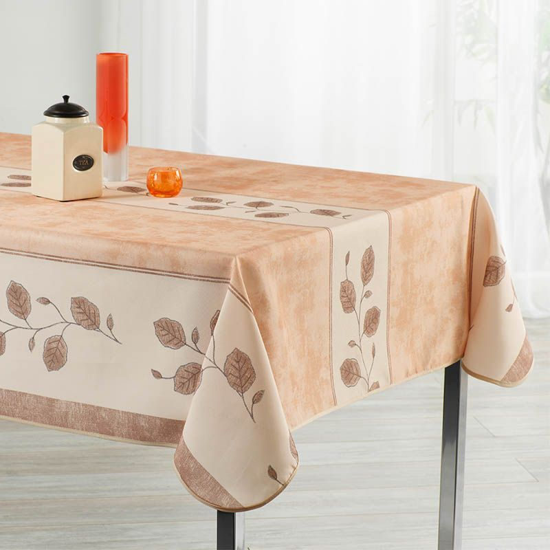 Tablecloth beige, brown and white with leaves 240 X 148 French tablecloths