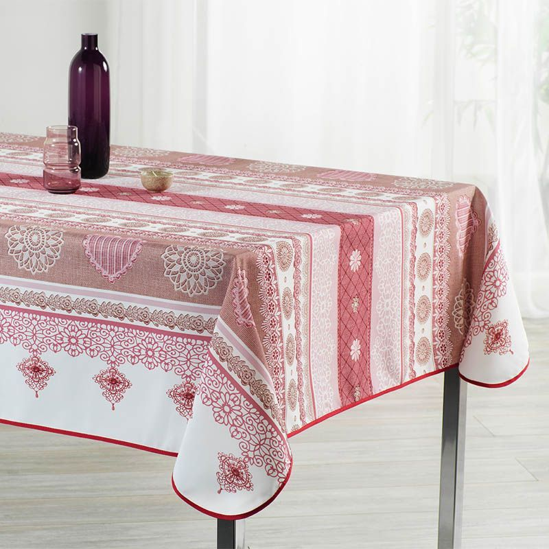 Tablecloth 240x148 cm Rectangle red white with crocheted French tablecloths