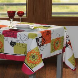 Tablecloth white green with flowers 200 X 148 French tablecloths