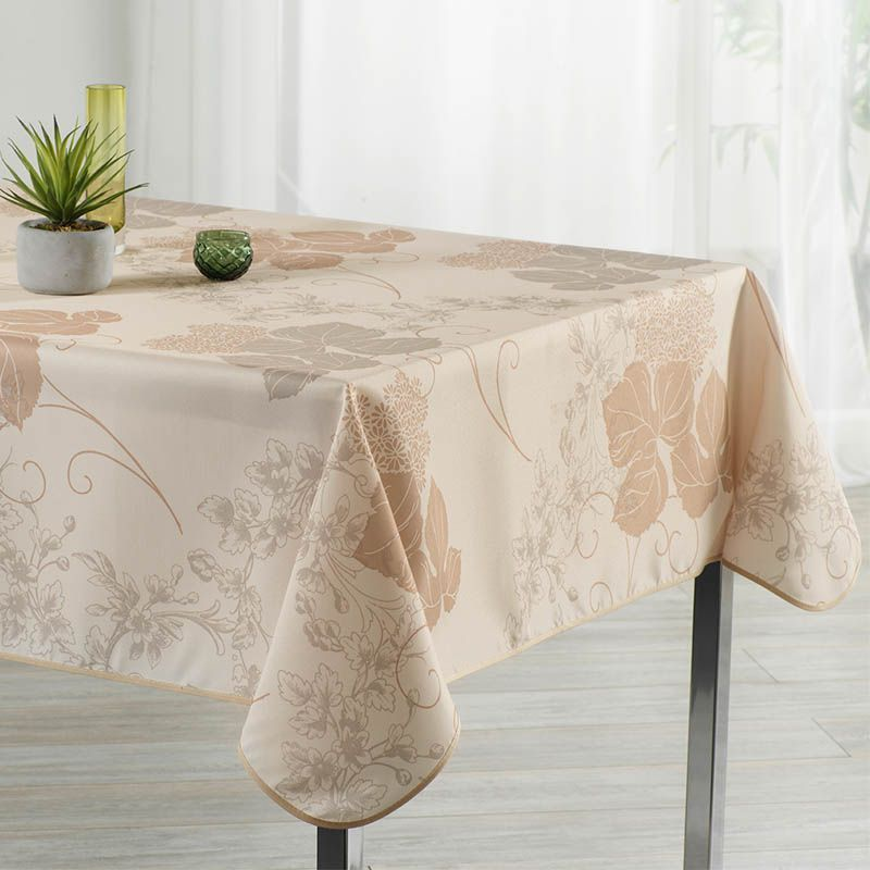 Tablecloth beige with leaves 350 X 148 French tablecloths