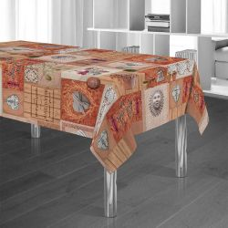 Tablecloth orange with olive and sun 350 X 148 French tablecloths