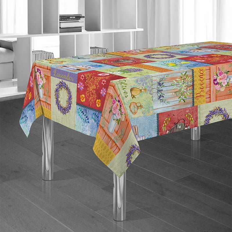 Tablecloth colorful with olive and flowers 300 X 148 French tablecloths