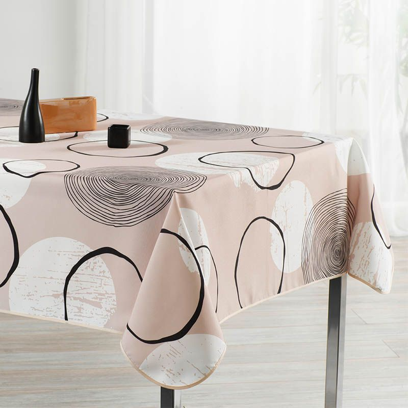 Tablecloth beige with circles 240 X 148 French tablecloths