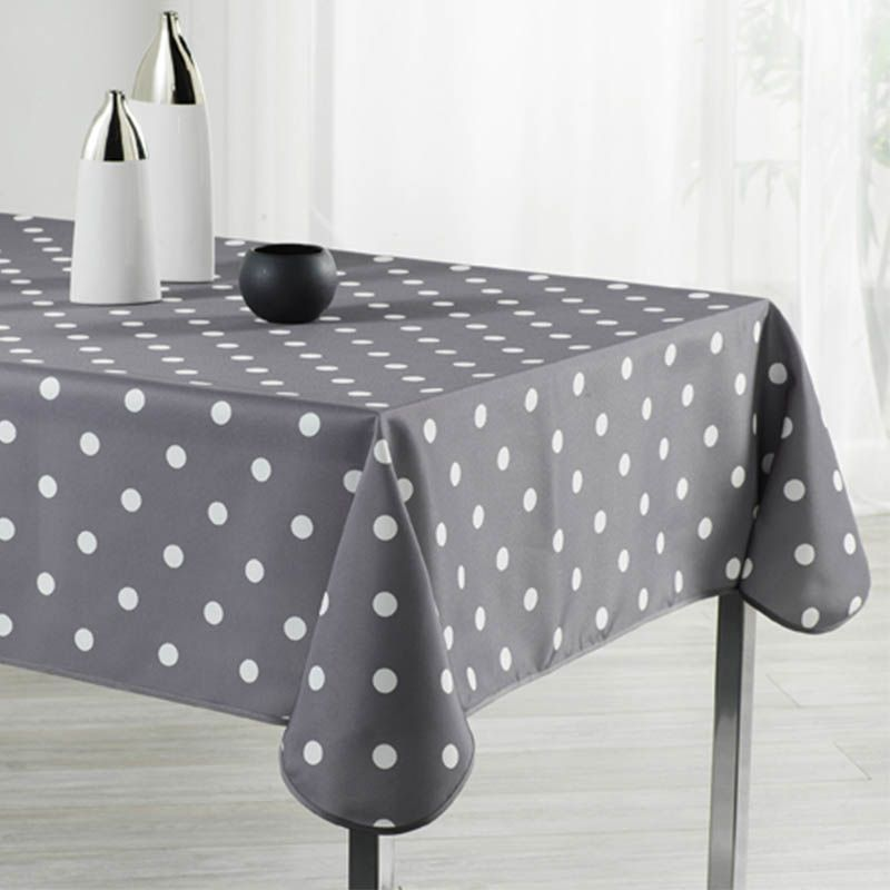 Tablecloth gray with white dots 240 X 148 French tablecloths