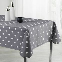 Tablecloth gray with white dots 160 round French tablecloths