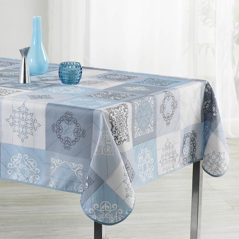 Tablecloth sky blue with ornaments 350 X 148 French tablecloths