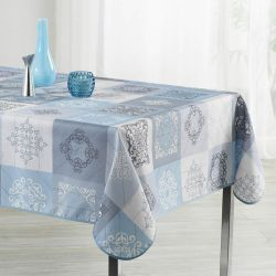 Tablecloth sky blue with ornaments 240 X 148 French tablecloths. Camping and terrace, inside and out