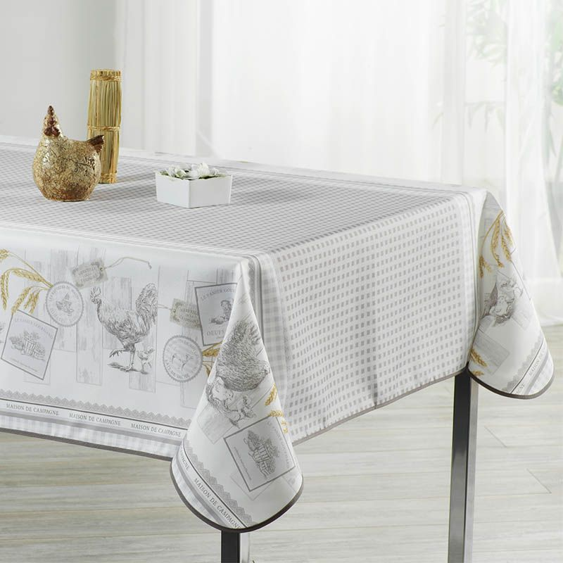 Tablecloth gray gingham with chickens 350 X 148 French tablecloths