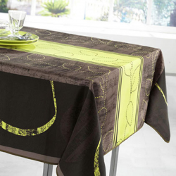 Tablecloth lime stripe leaves 350 X 148 French tablecloths