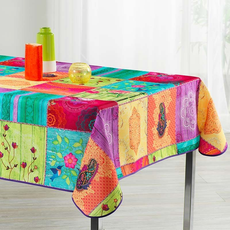 Tablecloth colorful with buddhism 350 X 148 French tablecloths