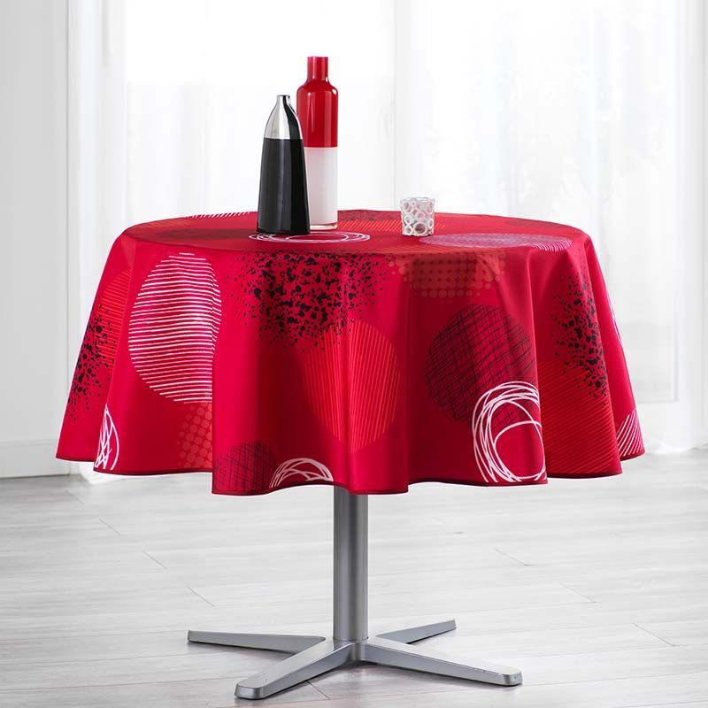 Tablecloth red with circles 160 round French tablecloths