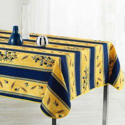Tablecloth blue, yellow with olive 300 X 148 French tablecloths