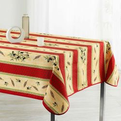 Tablecloth red, yellow and olive 350 X 148 French tablecloths