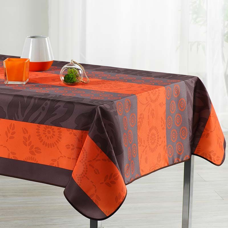Tablecloth orange with leaves and circles 300 X 148 French tablecloths