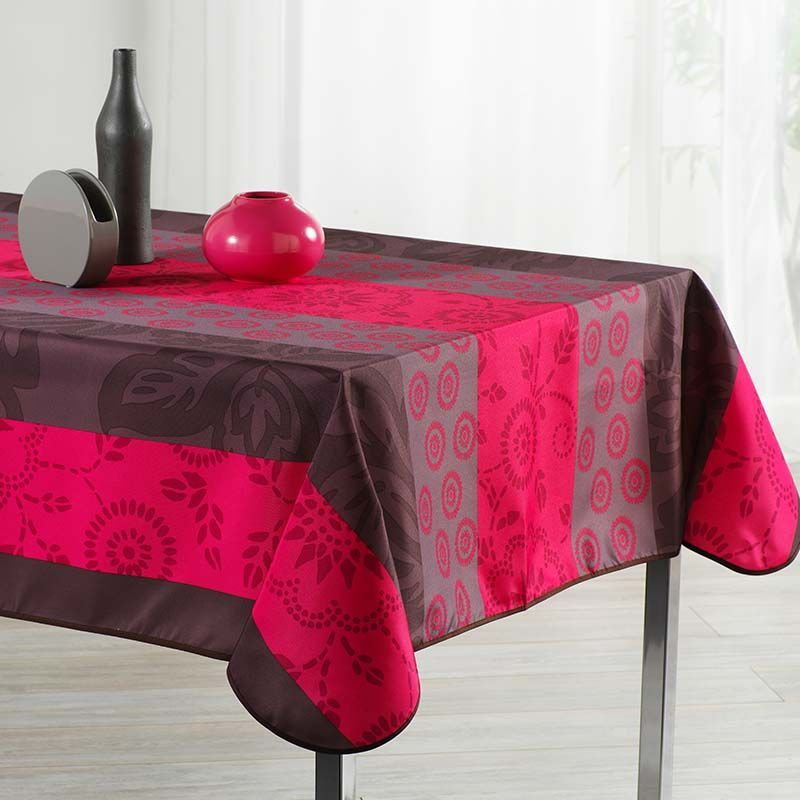 Tafelkleed rouge streep blaadjes 300 X 148 Franse Tafelkleden