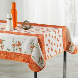 Tablecloth orange, white with butterflies 240 X 148 French tablecloths