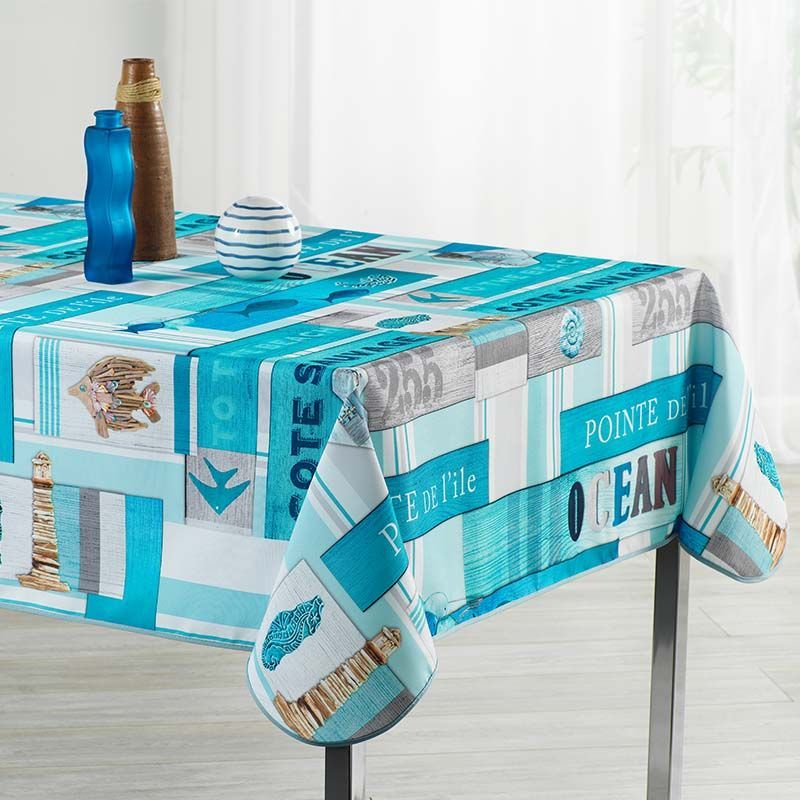 Tablecloth ocean light blue with fish 350 X 148 French tablecloths
