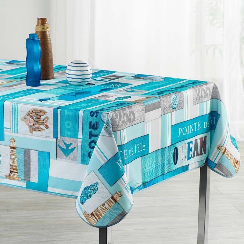 Tischdecke Ozean hellblau mit Fisch 350 X 148 Französische Tischdecken