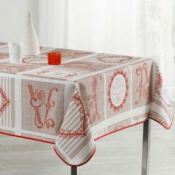 Tablecloth white, beige with red lettering 300 X 148 French tablecloths