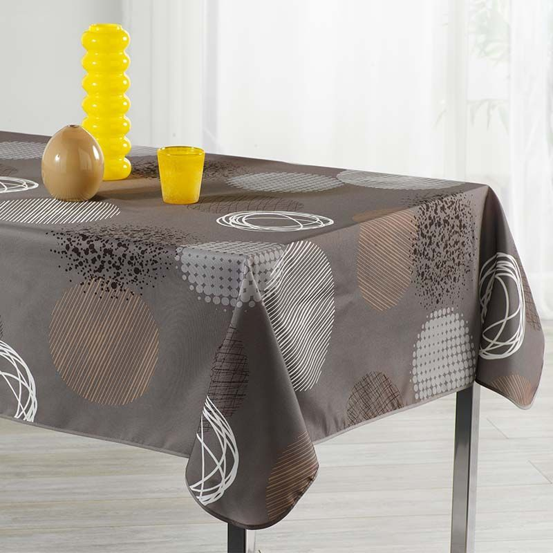 Tablecloth taupe with circles 300 X 148 French tablecloths