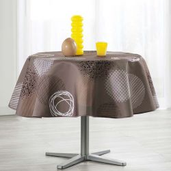 Tablecloth taupe with circles 160 round French tablecloths