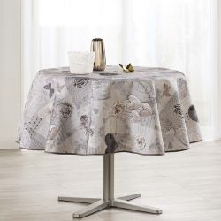 Tablecloth gray with hearts 160 round French tablecloths