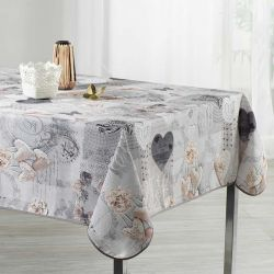 Tablecloth gray with hearts 240 X 148 French tablecloths