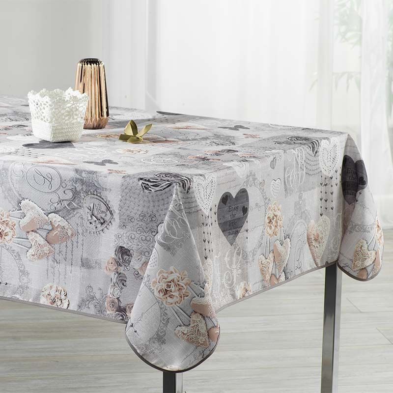 Tablecloth gray with hearts 300 X 148 French tablecloths