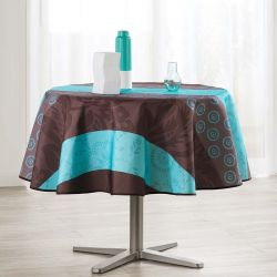 Tablecloth 160 round light blue with leaves and circles French tablecloths